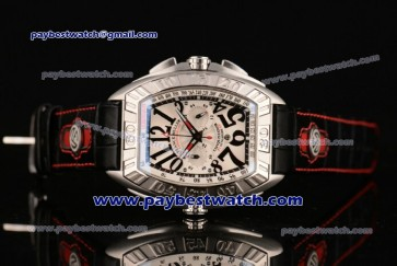 Franck Muller Conquistador Grand Prix Chrono 9900 CC DT GPG White Dial Steel Watch