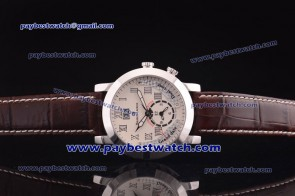 Maurice Lacroix Pontos Grand Guichet GMT PT6097-SS001-130 Brown Leather Strap Steel Watch