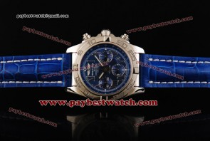 Breitling Chronomat B01 AB011012 Blue Leather Steel Watch
