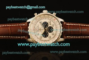 Breitling Chronospace A2336035 Brown Leather Steel Watch
