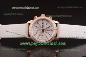 Chopard Mille Miglia GMT Chrono For 2012 161288-5001 White Rubber Rose Gold Diamond Watch