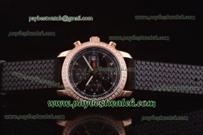 Chopard Mille Miglia GMT Chrono For 2012 161288-5001 Black Rubber Rose Gold Diamond Watch
