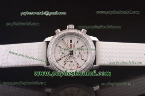 Chopard Mille Miglia GMT Chrono For 2012 161288-5001 White Rubber Steel Diamond Watch