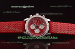 Chopard Mille Miglia GMT Chrono For 2012 161288-5001 Red Rubber Steel Diamond Watch