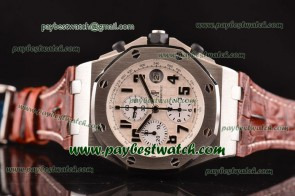 Audemars Piguet Royal Oak Offshore 26170ST.OO.D091CR.01.BG Brown Leather Steel Watch Sec@12
