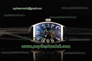 Franck Muller Aeternitas Res Tourbillon 8888 Leather Steel Watch Black Dial