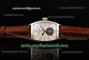 Franck Muller Aeternitas Res Tourbillon 8888 Leather Steel Watch White Dial