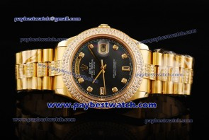 Rolex Day Date II 1218348DD  bkdp Black MOP Dial Yellow Gold Watch