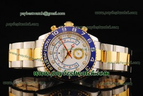 Rolex Yacht-Master II 116681 Blue Bezel White Dial Two Tone Watch