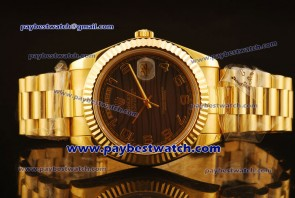 Rolex Day Date II 218238 brwap Brown Dial Gold Watch