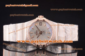 Omega Constellation 38mm 123.25.38.21.52.001 Steel & Rose Gold Diamond Silver Dial Watch