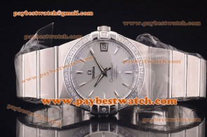 Omega Constellation 38mm 123.55.38.21.51.008 Steel Diamond Silver Dial Watch