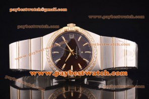 Omega Constellation 38mm 12325382152002 Steel & Gold Diamond Brown Dial Watch