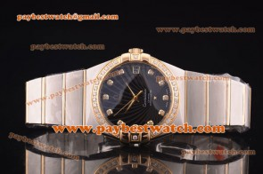 Omega Constellation 38mm 12325382156002 Steel & Gold Diamond Black Dial Watch