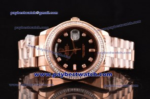 Rolex Day Date II 118235D bkdp Diamond Bezel Rose Gold Watch