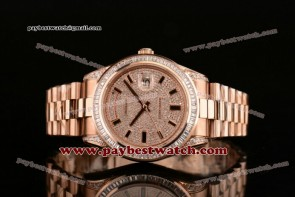 Rolex 41MM Day Date II 118235BD dsp Full Diamond Dial Rose Gold Watch