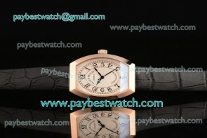 Franck Muller Chronometro FM12102508 White Dial Black Leather Rose Gold Watch