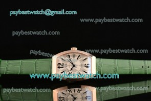 Franck Muller Art Deco 11000 K SCD RG White/Gray Dial Green Leather Rose Gold Watch