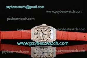 Franck Muller Art Deco 11000 K SC D White/Gray Dial Red Leather Diamond Bezel Steel Watch