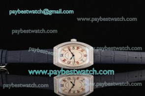 Franck Muller Chronometro FM12102509 White Dial Blue Leather Diamond Bezel Steel Watch
