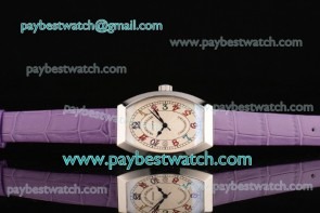 Franck Muller Chronometro FM12102510 White Dial Purple Leather Steel Watch