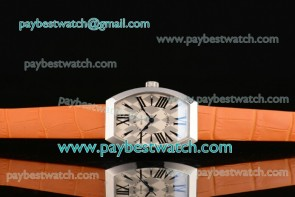 Franck Muller Art Deco 11000 K SC White/Gray Dial Orange Leather Steel Watch