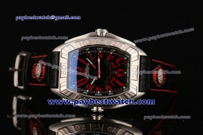 Franck Muller Conquistador Grand Prix Chrono 9900 CC DT GPG Red Numeral Markers Black Dial Steel Watch