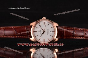 Omega De Ville Tresor Master Co-Axial 432.53.40.21.02.002 White Dial Brown Leather Rose Gold Watch