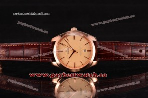 Omega De Ville Tresor Master Co-Axial 432.53.40.21.02.004 Champagne Dial Brown Leather Rose Gold Watch