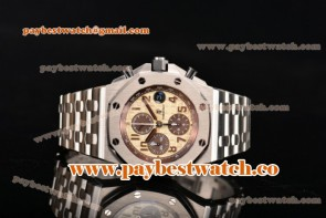 Audemars Piguet Royal Oak Offshore Safari 2014 Chrono 26470st.oo.a801cr.01 Beige Dial Full Steel Watch 1:1 Original (NOOB)