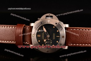 Panerai Luminor Submersible 1950 3 Days Automatic Ceramica PAM00305 Black Dial Brown Leather Steel Watch