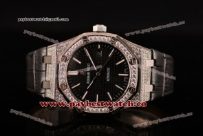 Audemars Piguet Royal Oak 41MM 15154BC.ZZ.D004CU.02DBKFD Black Dial Steel/Diamonds Watch (EF)