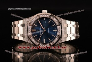 Audemars Piguet Royal Oak 41MM 15202ST.OO.1240ST.01fd Blue Dial Steel/Diamonds Watch (EF)