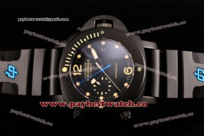 Panerai Luminor Submersible Flyback PAM 618 Black Dial Yellow Markers Black Rubber Titanium Watch