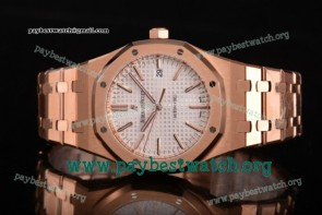1:1 Audemars Piguet Royal Oak 41 MM 15400or.oo.1220or.02 White Dial Full Rose Gold Watch (JF)