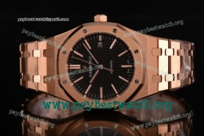 1:1 Audemars Piguet Royal Oak 41 MM 15400or.oo.1220or.01 Black Dial Full Rose Gold Watch (JF)