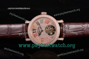 Franck Muller Color Dreams Tourbillon 4281 SC D2 COLDRM 7N Diamonds Dial Brown Leather Rose Gold Watch (FT)