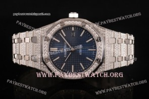Audemars Piguet Royal Oak 41MM 15202ST.OO.1240ST.01fdd Blue Dial Diamonds Bezel Full Steel Watch