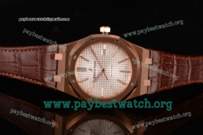 Audemars Piguet Royal Oak 15400or.oo.d088cr.01 White Dial Brown Leather Rose Gold Watch (BP)