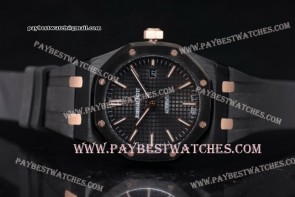 Audemars Piguet Royal Oak 36mm 15400ST.OO.1220ST.13 Black Dial Black Rubber PVD watch (EF)