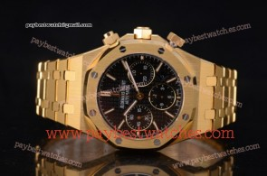 Audemars Piguet Royal Oak Chronograph 26320BA.OO.1220BA.03 Black Dial Full Yellow Gold Watch (EF)