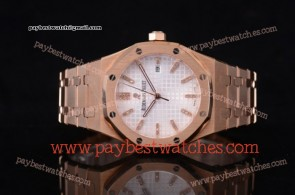 Audemars Piguet Royal Oak 15400OR.OO.1220OR.02D White Dial Full Rose Gold Watch (EF)