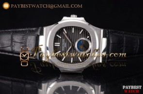 Patek Philippe Nautilus 5729A-001 Black Dial Black Leather Steel Watch