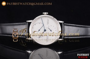 Nomos Glashutte Gangreserve 84 Stunden 136WBL White Dial Black Leather Steel Watch