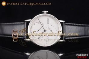 Nomos Glashutte Gangreserve 84 Stunden 136W White Dial Black Leather Steel Watch