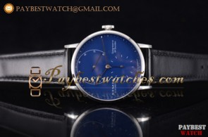Nomos Glashutte Gangreserve 84 Stunden 136BL Blue Dial Black Leather Steel Watch