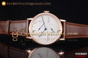 Nomos Glashutte Gangreserve 84 Stunden 137WBL White Dial Brown Leather Rose Gold Watch