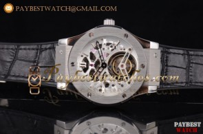 Hublot Classic Fusion Tourbillon 506.NX.0171.SR Skeleton Dial Black Leather Steel Watch (GF)