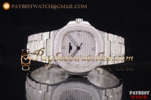 Patek Philippe Jumbo Nautilus 5719/1G 001 Diamonds Dial Full Steel/Diamonds Watch