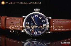 Zenith Pilot Type 20 GMT 96.2436.693/51.c780 Blue Dial Brown Leather Steel Watch